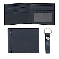 Mantaray - Navy leather wallet and keyring set in a gift box