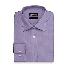 The Collection - Big and tall lilac and white striped classic fit shirt