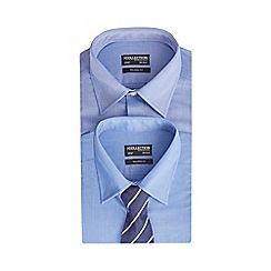 The Collection - Big and tall pack of two blue plain and printed tailored fit shirts with a tie