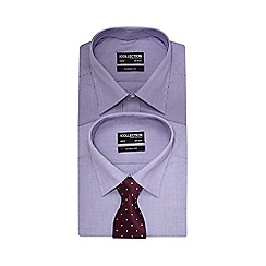 The Collection - Big and tall pack of two purple long sleeve shirts with a tie