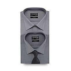 The Collection - Big and tall set of two grey patterned regular fit shirts with tie