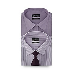 The Collection - Pack of two purple striped tailored fit shirt