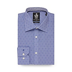 Jeff Banks - Blue gingham print slim fit shirt