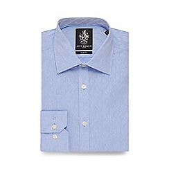 Jeff Banks - Big and tall light blue floral jacquard slim fit shirt