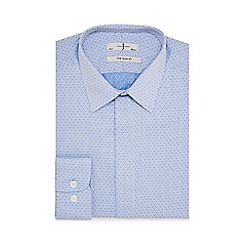 J by Jasper Conran - Big and tall blue dotted slim fit shirt
