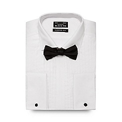 Black Tie - Big and tall white pleated regular fit shirt and bow tie
