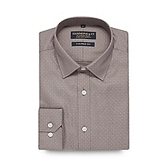 Hammond & Co. by Patrick Grant - Grey spotted tailored fit shirt