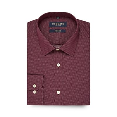 Osborne   Dark Rose Diamond Dobby Print Slim Fit Shirt by Osborne