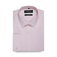 Osborne - Big and tall pink grid check slim fit shirt