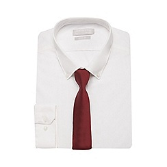 Red Herring - White slim fit shirt and red tie set