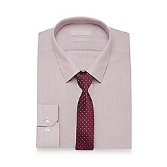 Red Herring - Wine red striped slim fit shirt and tie set