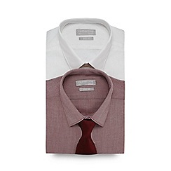 Red Herring - Pack of two red and white slim fit shirts and tie