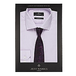 Jeff Banks - Lilac textured tailored fit shirt with a tie