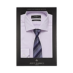 Jeff Banks - Big and tall lilac textured tailored fit shirt with a tie