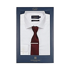 Osborne - Big and tall white textured striped tailored fit shirt with tie and clip