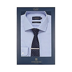 Osborne - Lilac textured herringbone tailored fit shirt with tie and clip