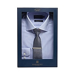 Osborne - Big and tall navy herringbone tailored fit shirt with a tie and clip