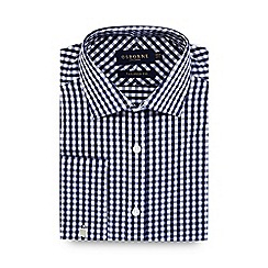 Osborne - Navy large twill gingham tailored fit shirt