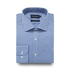 Osborne - Big and tall blue basket weave print tailored fit shirt