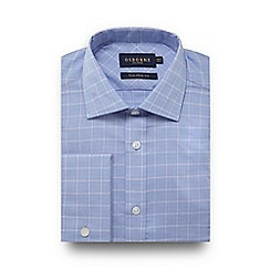 Osborne - Light blue Prince of Wales check tailored fit shirt