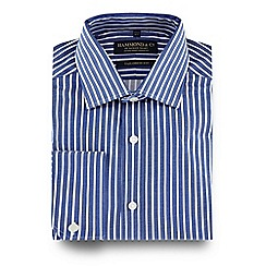 Hammond & Co. by Patrick Grant - Blue striped semi-cutaway collar tailored fit shirt