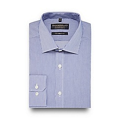 Hammond & Co. by Patrick Grant - Blue dobby stripe semi cutaway collar tailored fit shirt