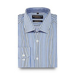 Hammond & Co. by Patrick Grant - Blue striped semi cutaway collar tailored fit twill shirt