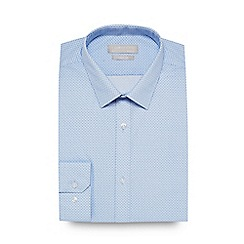 The Collection - Light blue herringbone print slim fit shirt