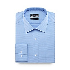 The Collection - Blue textured classic fit shirt