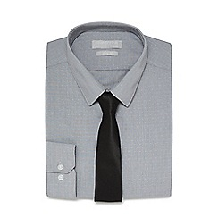 Red Herring - Grey fine striped textured slim fit shirt and black tie set
