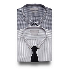 Red Herring - Pack of two black and white patterned slim fit shirts with tie