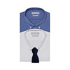 Red Herring - Pack of two white and blue slim fit shirts