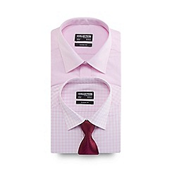The Collection - Big and tall pack of two pink regular fit shirts with a textured tie