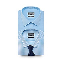 The Collection - Pack of two aqua regular fit shirts with a textured tie