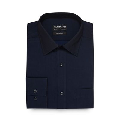 The Collection   Navy Plain Tonic Tailored Shirt by The Collection
