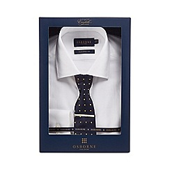 Osborne - White twill tailored fit shirt and tie set
