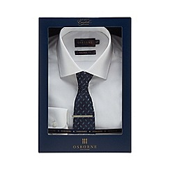 Osborne - Big and tall white tailored fit shirt and tie set