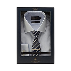 Osborne - Blue gingham check tailored fit shirt and tie set