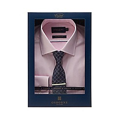 Osborne - Pink dobby textured tailored fit shirt and tie set