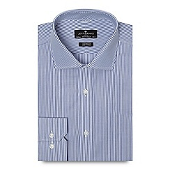 Jeff Banks - Big and tall designer navy striped tailored fit poplin shirt