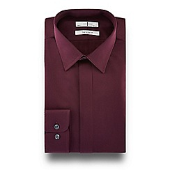 J by Jasper Conran - Dark purple contemporary collar slim fit shirt