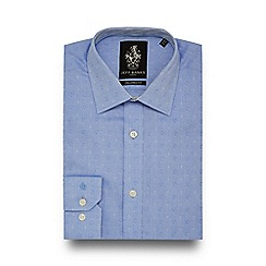 Jeff Banks - Blue paisley herringbone tailored fit shirt