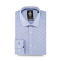 Jeff Banks - Navy spotted pointed collar slim fit shirt