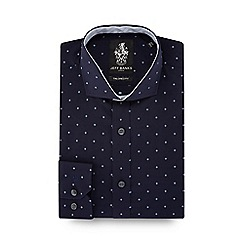 Jeff Banks - Navy embroidered cutaway collar tailored fit shirt