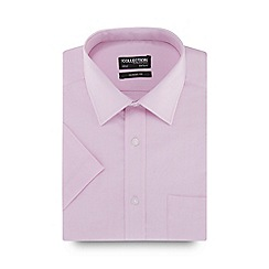 The Collection - Pink birdseye texture short sleeve Oxford shirt