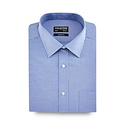 The Collection - Blue birdseye texture short sleeve Oxford shirt