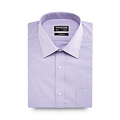 The Collection - Purple birdseye texture short sleeve Oxford shirt