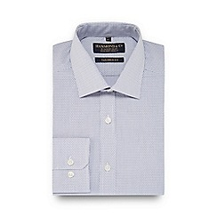 Hammond & Co. by Patrick Grant - Blue dobby line semi cutaway collar tailored fit shirt