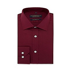 Hammond & Co. by Patrick Grant - Dark red spotted extra long sleeve and body tailored fit shirt
