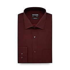 The Collection - Big and tall dark red extra long sleeve and body tailored fit shirt